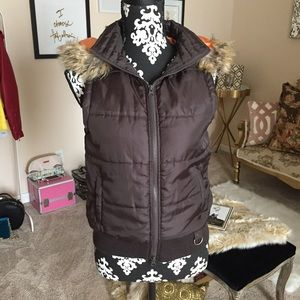 Brown Hooded Puffer Vest
